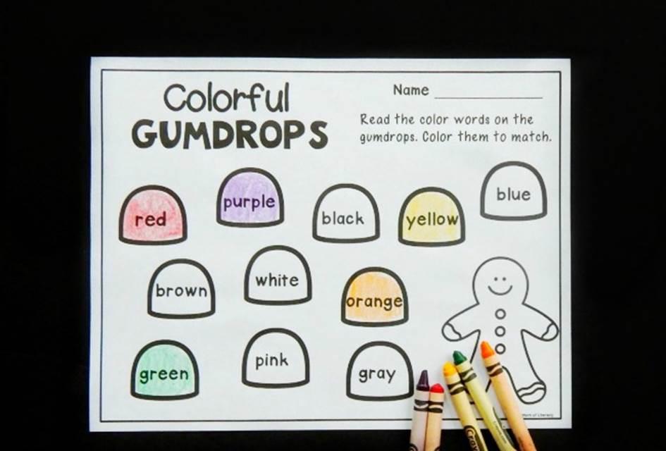 Gumdrop Color Words Printable