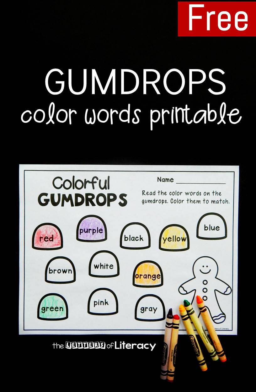 This gumdrop color words printable is so fun for the holidays! It's a great gingerbread center for kids to practice reading sight words.
