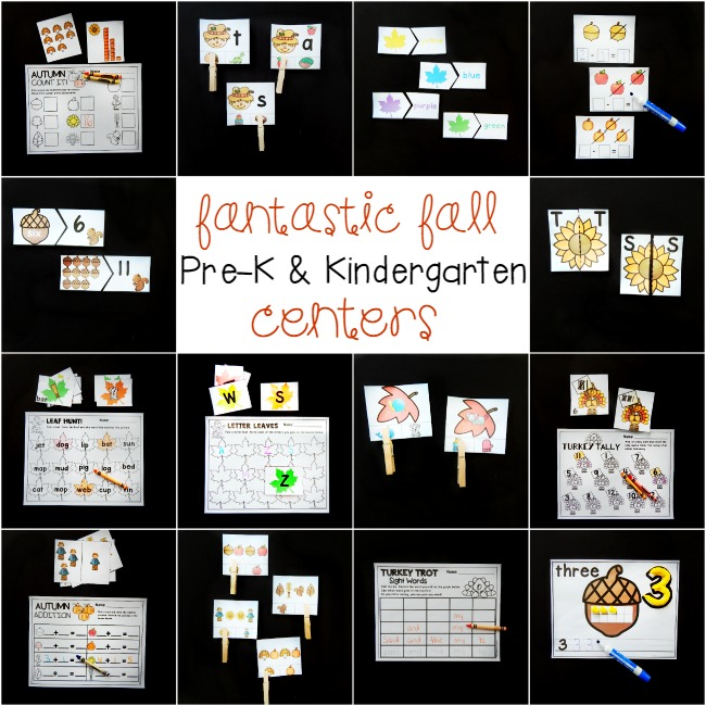 Fun math and literacy centers for fall that are perfect for Pre-K and Kindergarten!