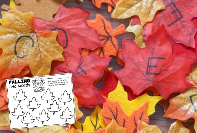 This CVC Word Building Fall Leaves Sensory Bin is a fun way to keep kids excited about forming CVC words and is a great fall sensory activity!