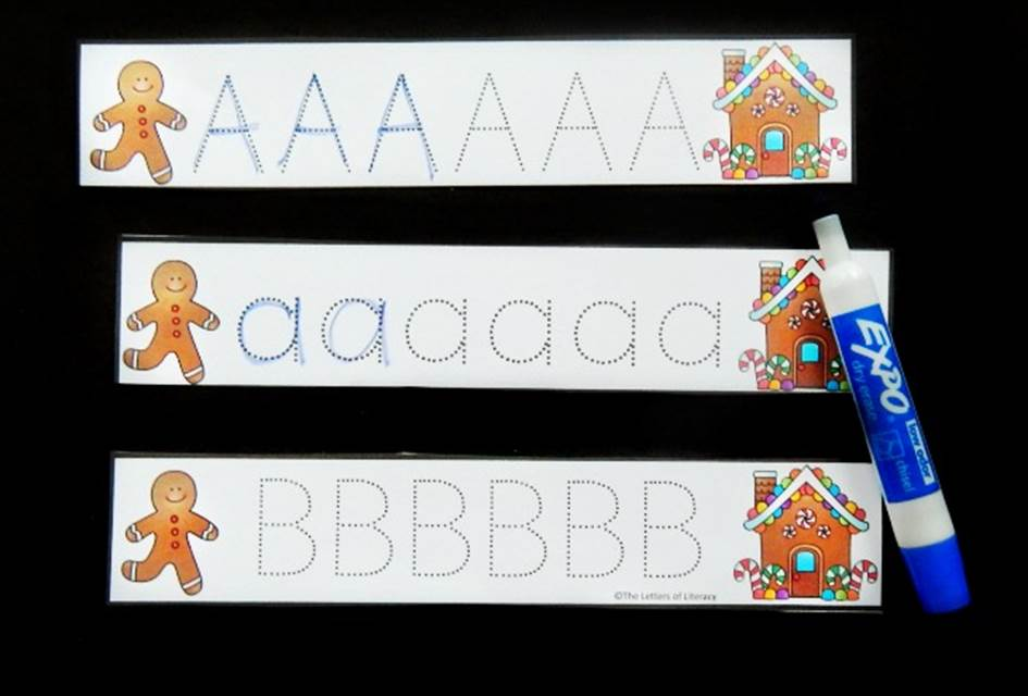 Gingerbread Letter Tracing Strips