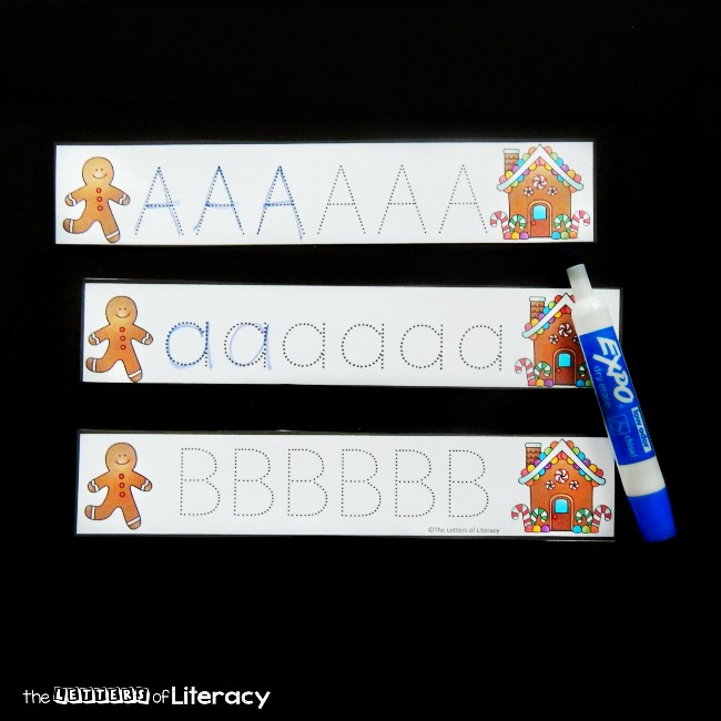 These letter tracing strips are such a fun alphabet activity and gingerbread center for kids! Perfect for preschool and kindergarten students.