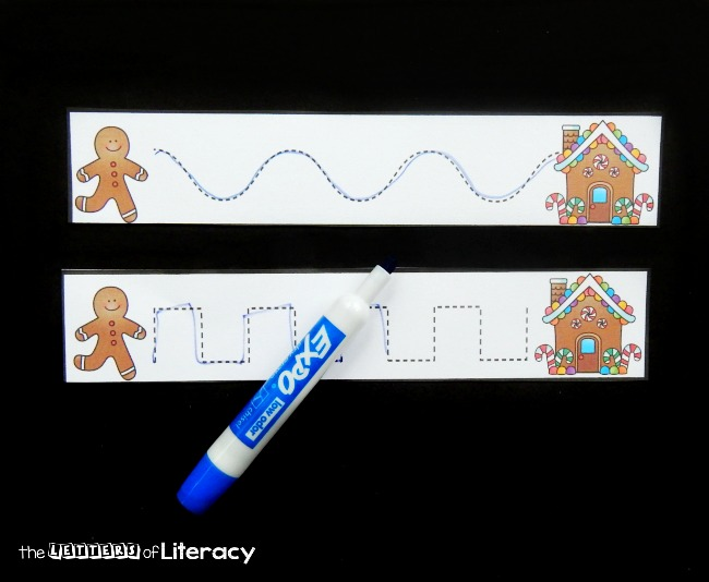These gingerbread prewriting strips are a fun way to build up early writing skills, handwriting, and various writing strokes needed to form letters.