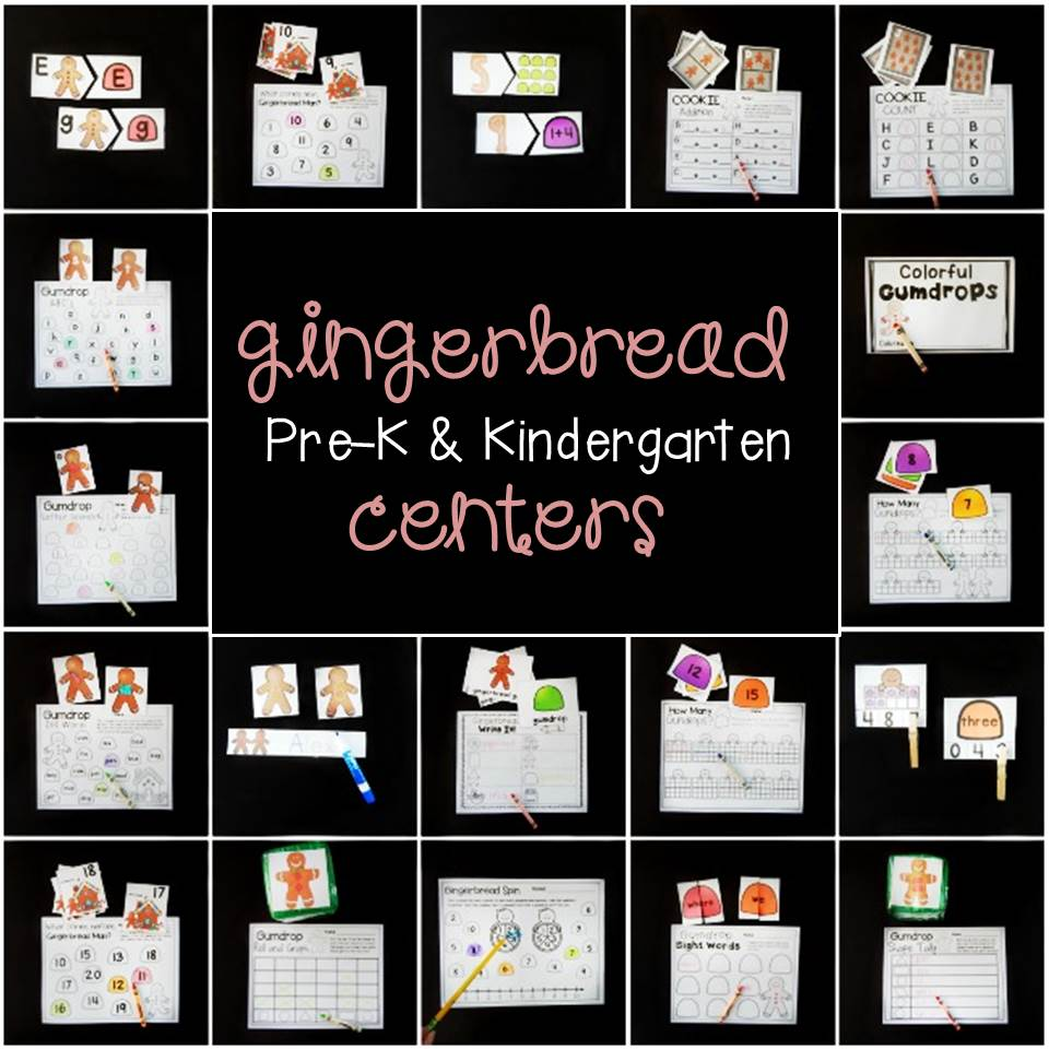 fun gingerbread math and literacy centers for Pre-k and Kindergarten!