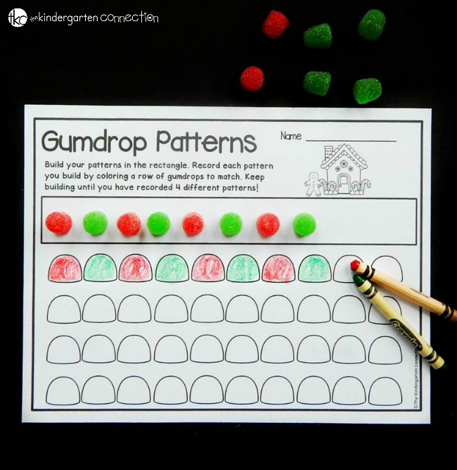 This free gumdrop pattern printable is a great, hands-on way to learn about patterns with your preschooler, kindergartener, or first grader! It makes a fun, easy prep math center!