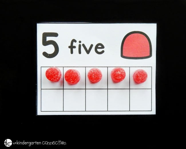 These free gumdrop ten frame cards are a great math center for kids to work on counting, one to one correspondence, and even decomposing numbers! They add a fun, festive theme during the holiday season!