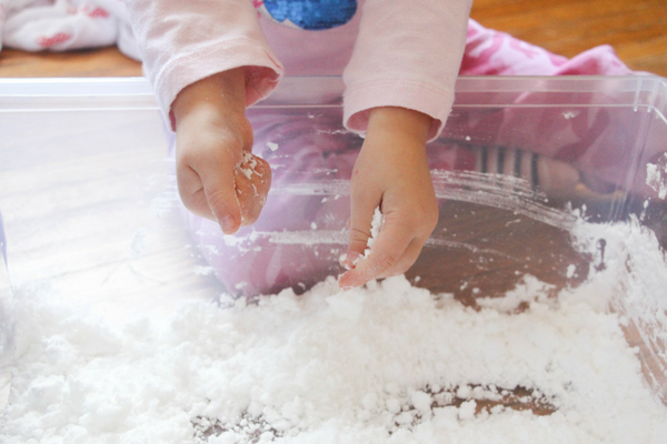 This letters in the snow sensory bin is such a fun way to work on letter recognition and practice the alphabet in a hands on way this winter!