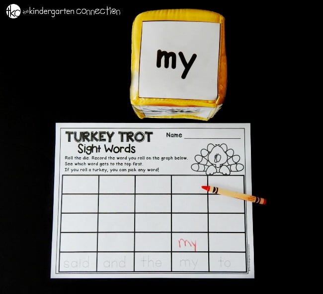 Make reading sight words fun with this turkey sight word game. It makes a great kindergarten or first grade literacy center for fall!