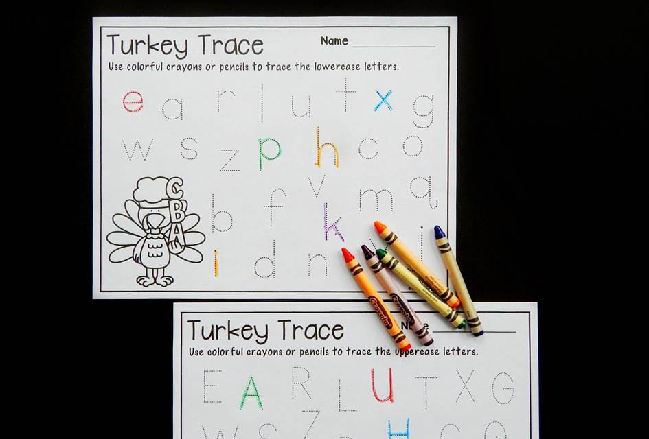 Turkey Trace – Alphabet Tracing Printables