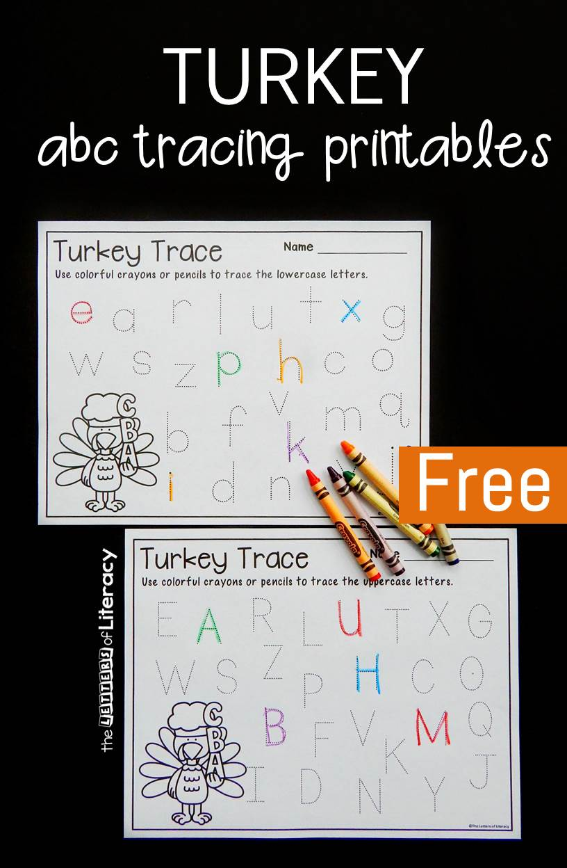 Turkey Free Alphabet Tracing Printables: Free Thanksgiving Activity
