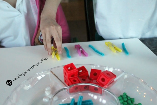 The ability to recognize, follow and predict patterns is an important early math skill. Make patterns with loose parts with this pattern activity!