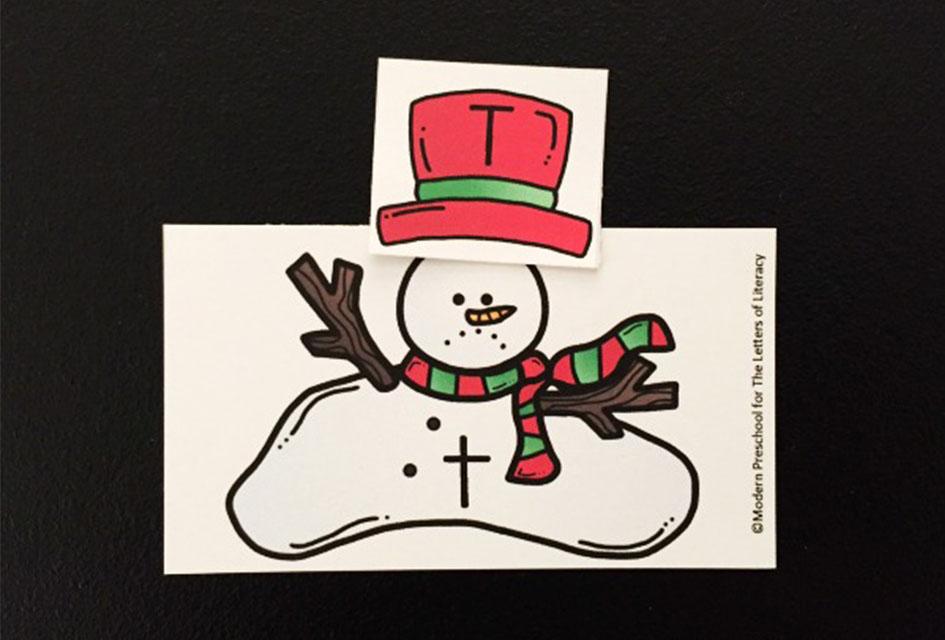Melted Snowman Alphabet Match