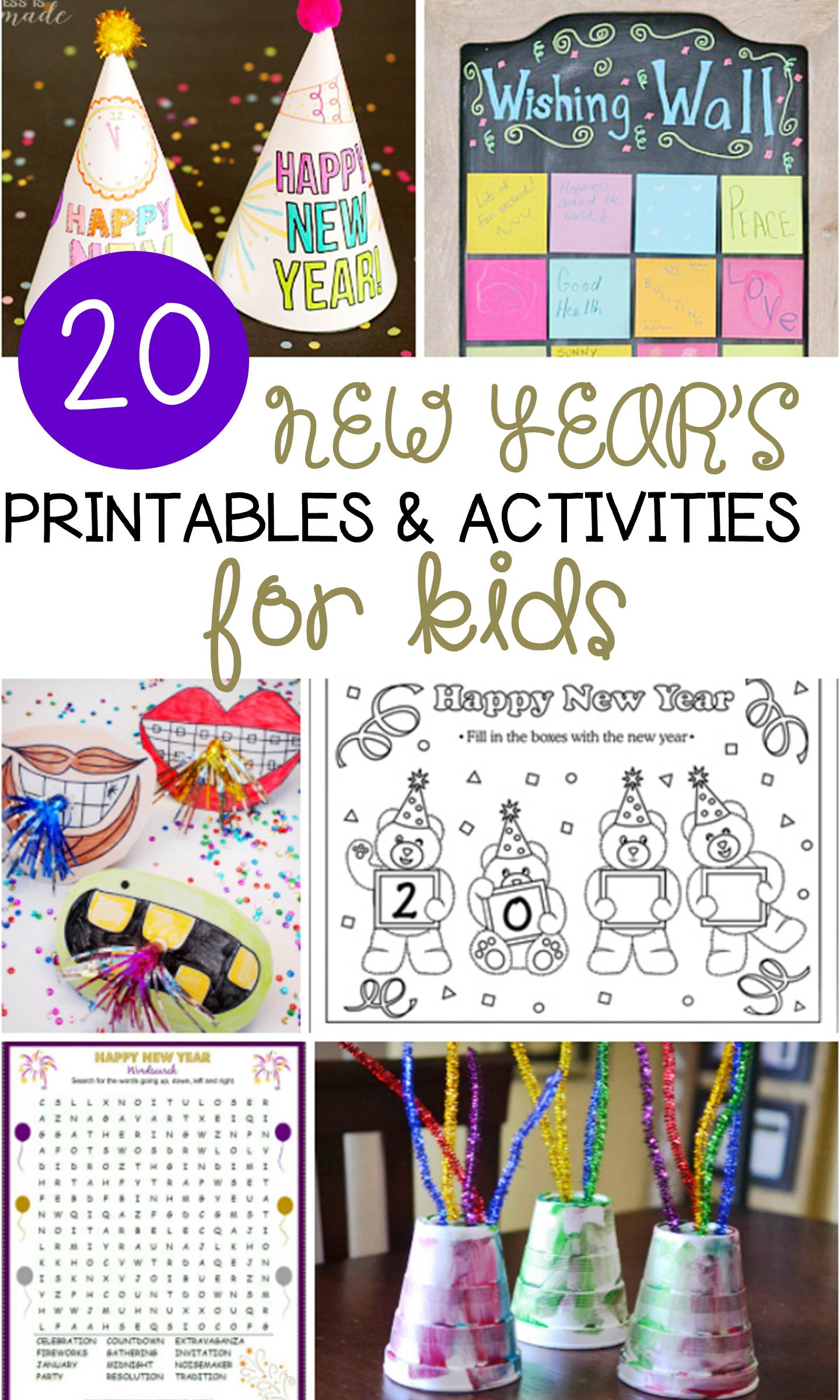 These 20 New Year's activities for kids are great for the classroom or home! They are so much fun for younger kids to ring in the new year!