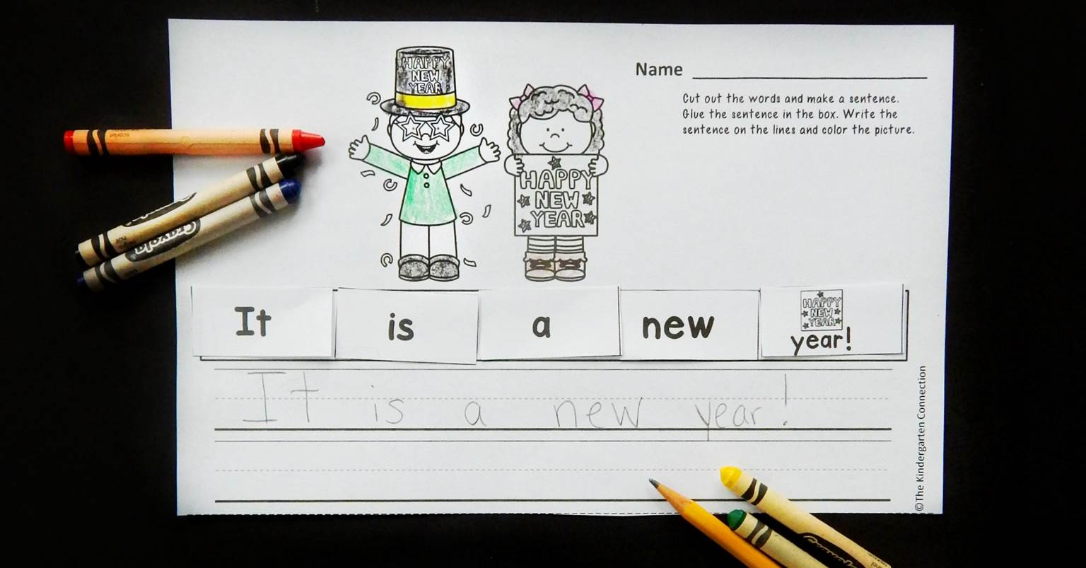 New years cut and paste sentence printable activity the new years cut and paste sentence printable activity the kindergarten connection pooptronica