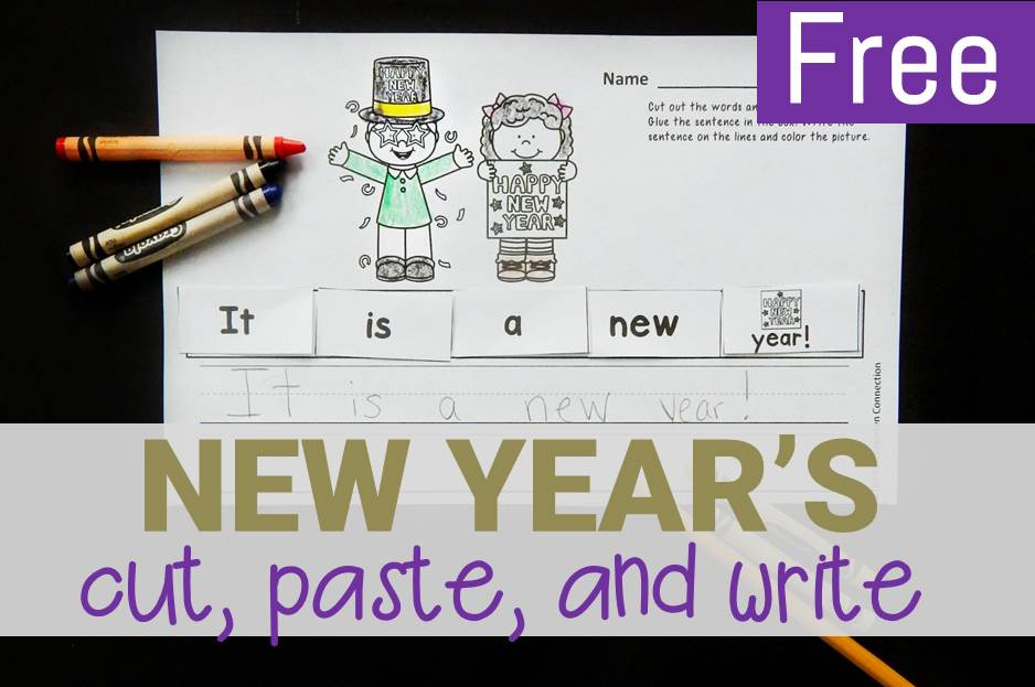 New Year's Cut and Paste Sentence Printable Activity