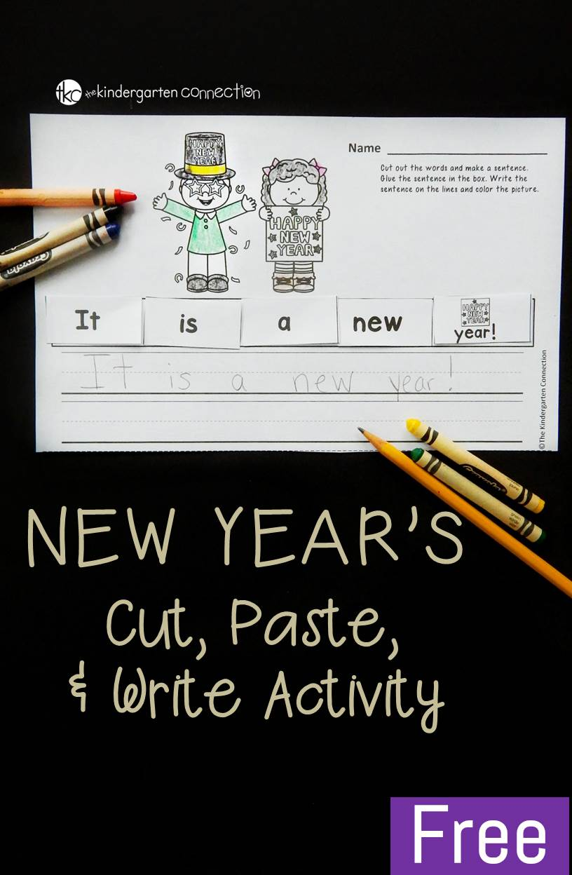 If you need a fun New Year's activity for kids in the classroom, this cut and paste sentence is great for Kindergarten and 1st grade to work on sight words!