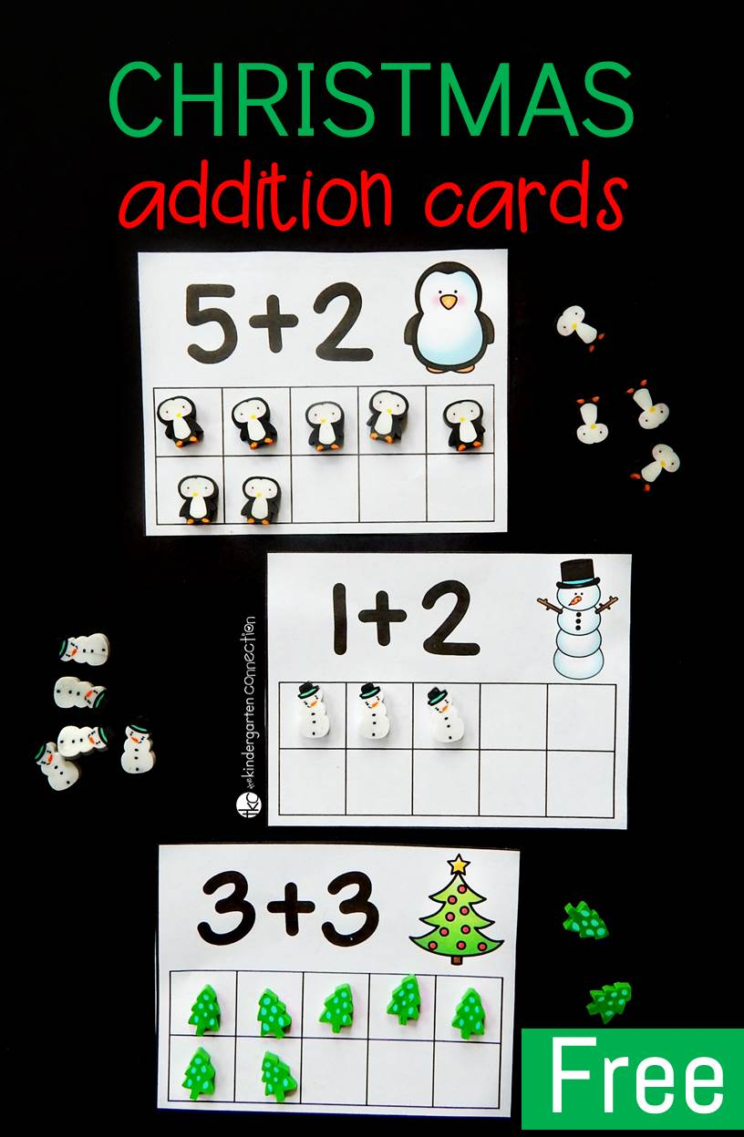 These Christmas eraser addition cards are a fantastic Christmas math activity for kids to work on counting and addition to ten!