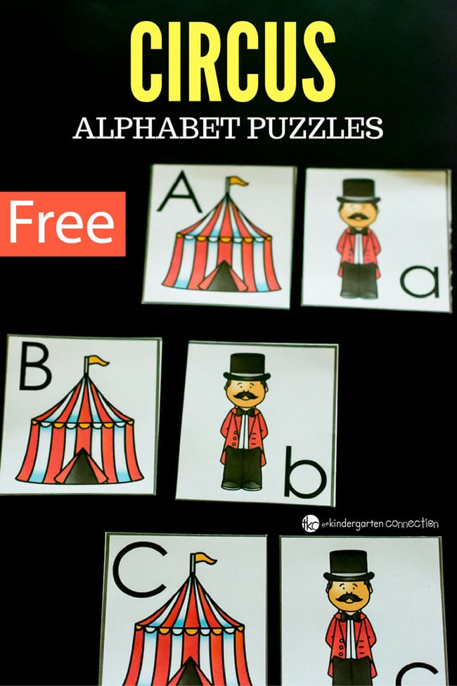 These free printable circus alphabet puzzles are great for letter recognition and as a preschool or kindergarten literacy center!