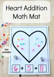 Heart Addition Math Mat with Free printable