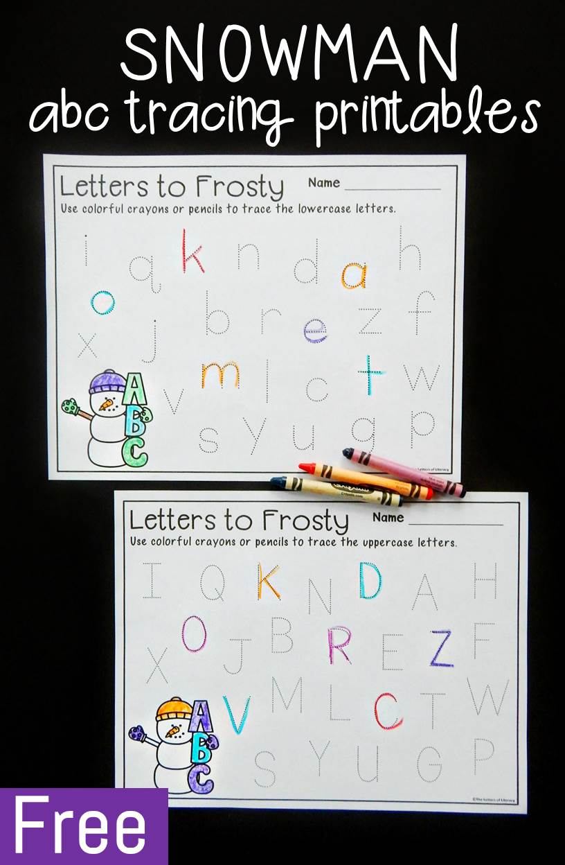 These snowman alphabet tracing printables are a simple and fun way for preschoolers and kindergartners to work on upper and lowercase letter writing.