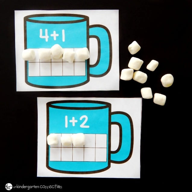 Practice addition to ten with these free hot chocolate ten frame addition mats! What a fun winter math center for Pre-K or Kindergarten!