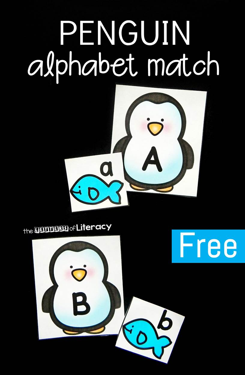 This penguin themed printable alphabet match is a super fun winter literacy center for preschool and kindergarten to work on upper and lowercase letters!