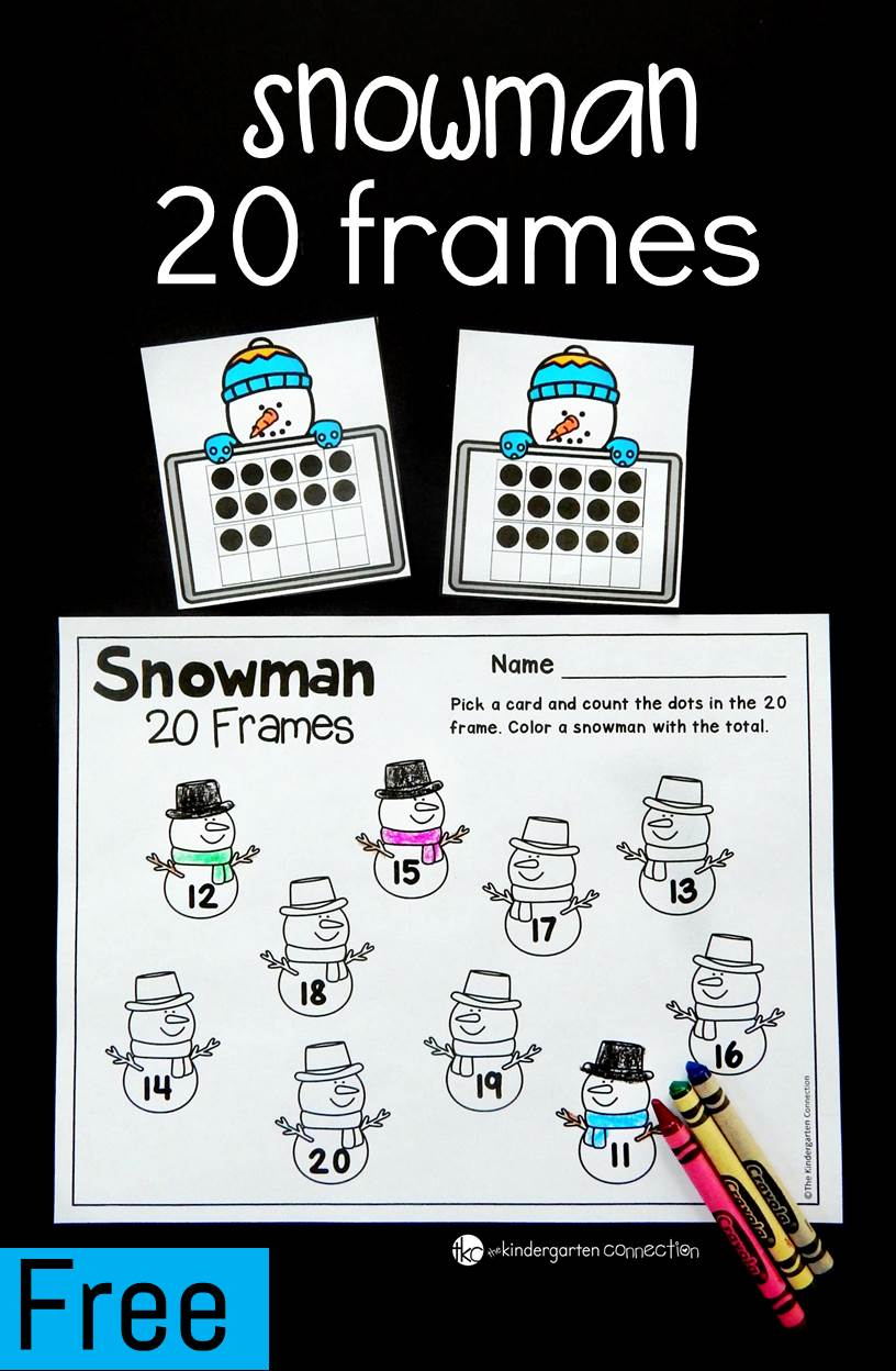 This 20 frames math game is a great winter math center for kindergarten and for building up number sense with teen numbers!