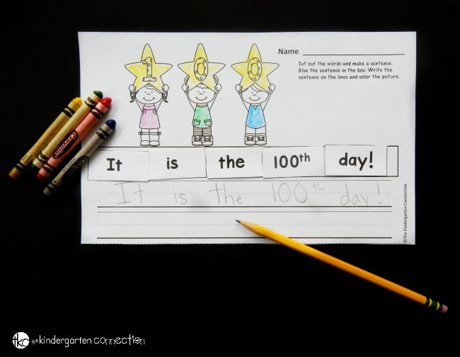 Are you celebrating the 100th day of school? This free 100th day of school cut and paste sentence printable is a perfect activity for Kindergarten or 1st grade!