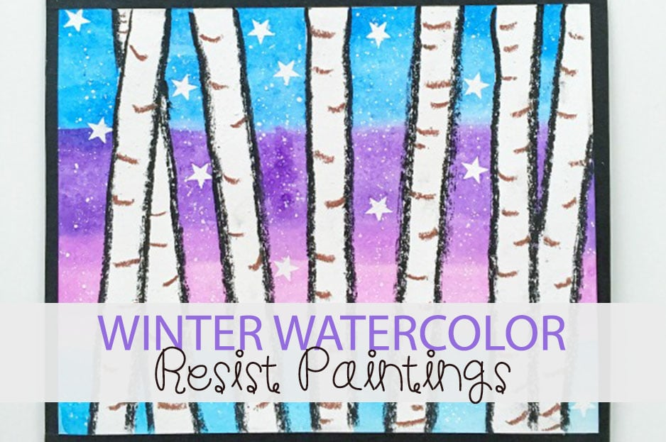 Beautiful winter watercolor paintings to make with kids!