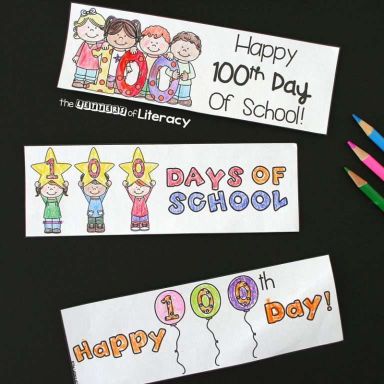 Awesome 100th day of school bookmarks for kids!