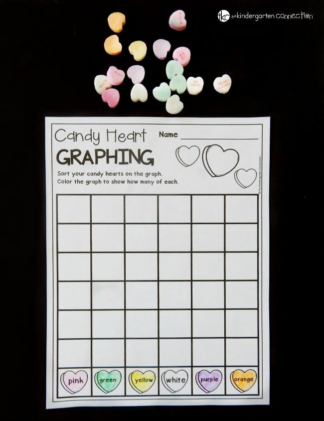 Work on sorting, counting, and graphing skills this Valentine's Day with this fun candy heart graphing worksheet! It makes a great Kindergarten math center.