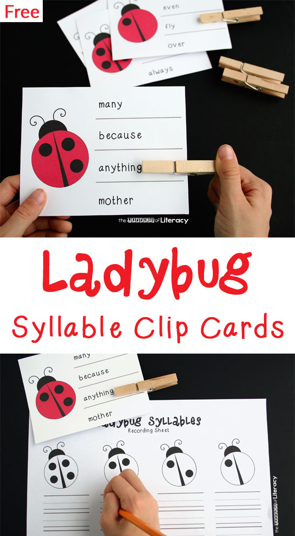 Practice counting with these spring ladybug syllable clip cards! Clip a clothespin to the correct answer, then write that word on the recording sheet.