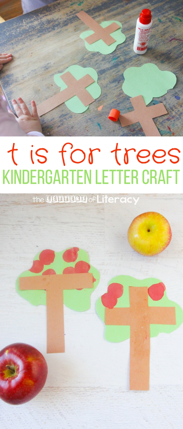 My kids love any excuse to break out bingo dabbers, so this letter T craft is T is for Tree! It can work well with an apple study, or for fine motor skills.