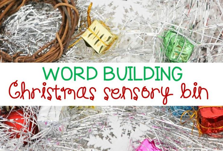 Word Building Christmas Sensory Bin