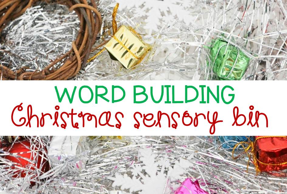 Word Building Christmas Sensory Bin