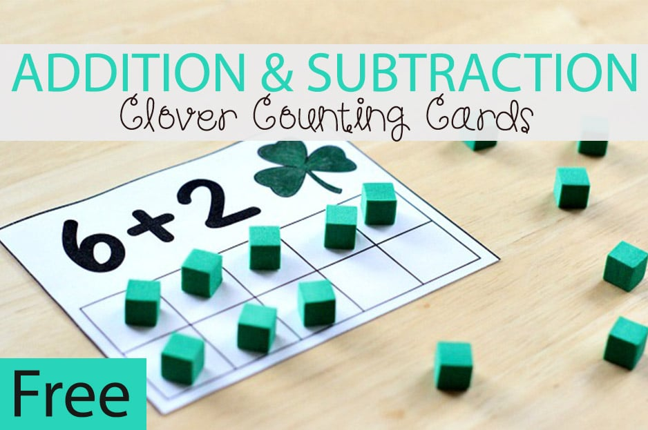 Clover Addition and Subtraction Counting Cards