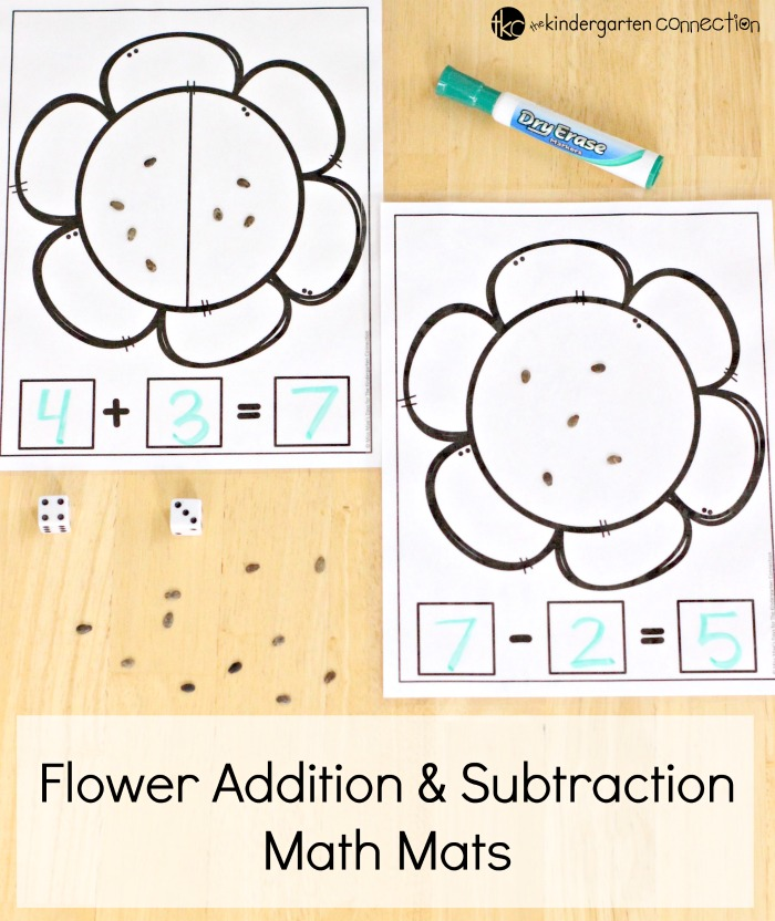 Flower Addition & Subtraction Math Mats Free Printables