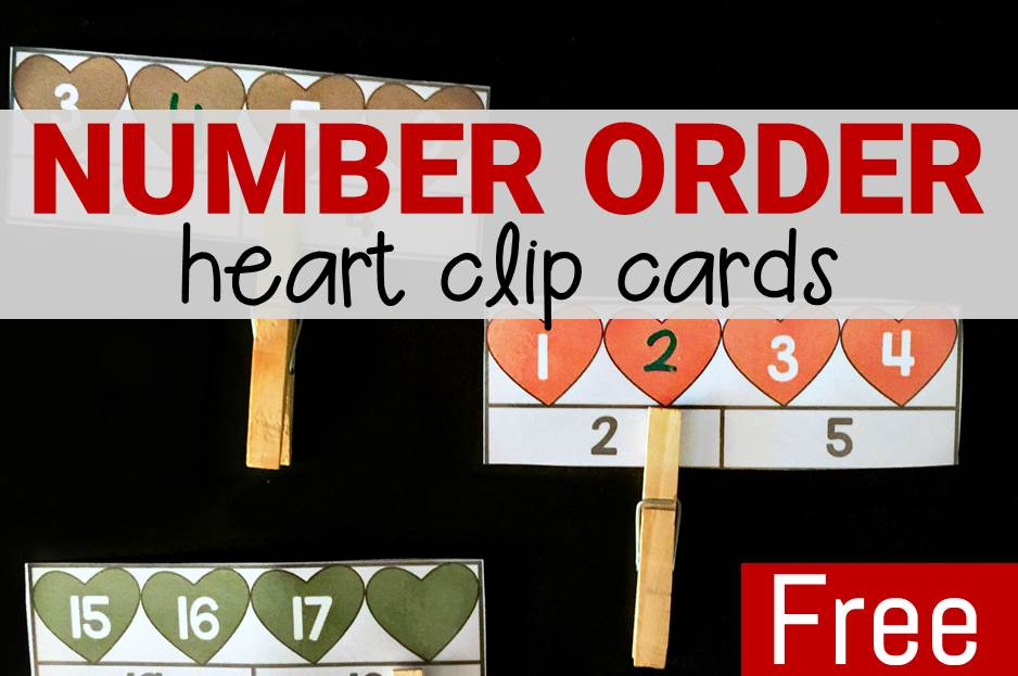 Heart Number Order Clip Cards