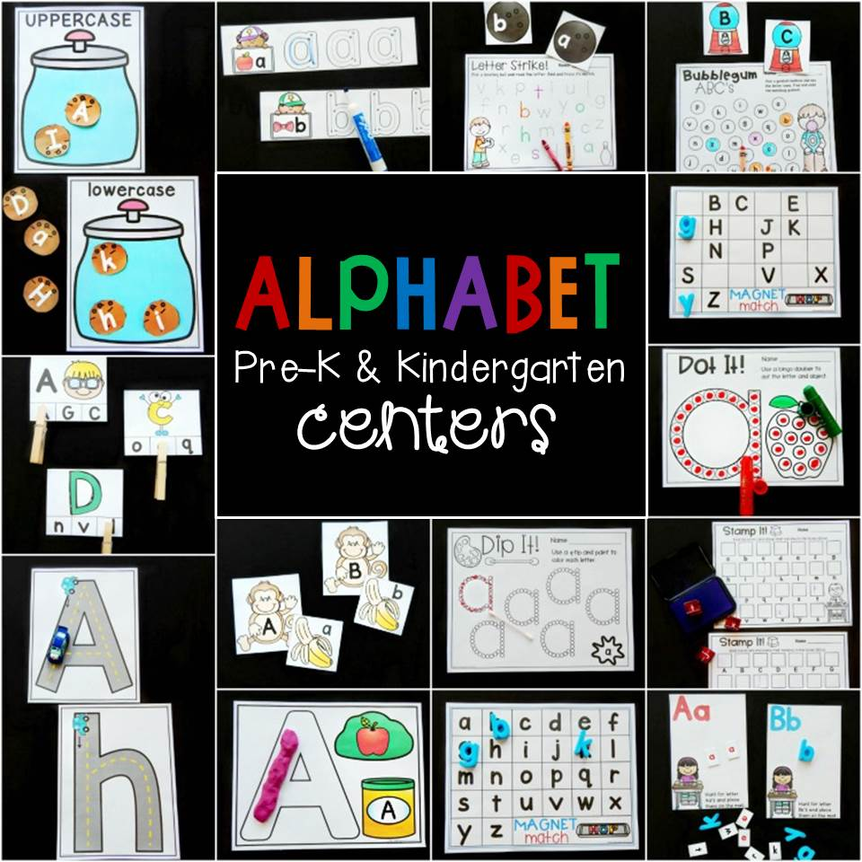print and play alphabet centers for Pre-K and Kindergarten!