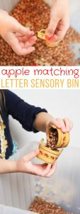 apple letter matching match sensory bin