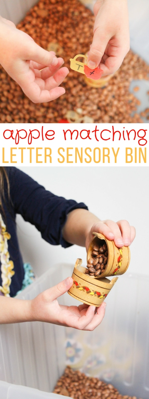 Ready for fall, this Apple Matching Letter Literacy Sensory Bin is great for bringing a fresh autumn approach to identifying upper- and lower-case letters.