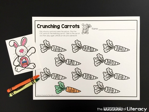 I enjoy activities to keep them challenged like our crunching carrots CVC match activity. It is perfect for the learning centers in my classroom!