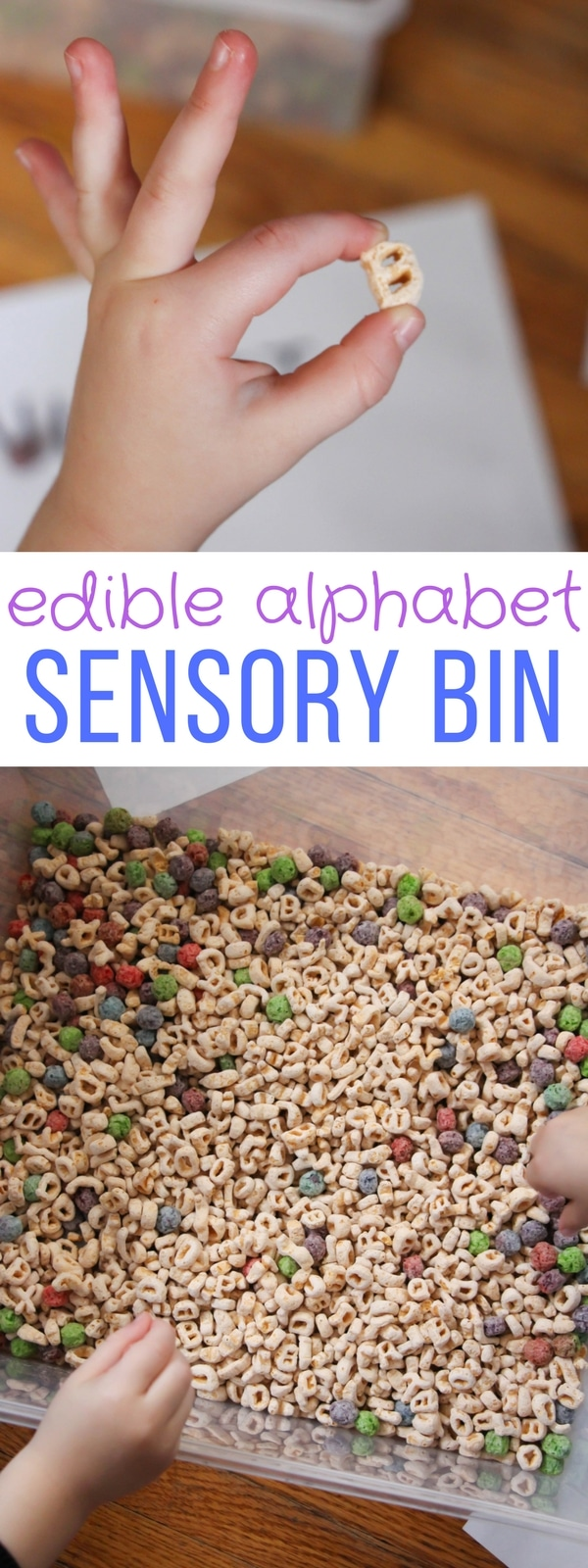 This Edible Alphabet Sensory Bin is low cost and simple but the opportunities for teaching letter recognition and sounds are endless!