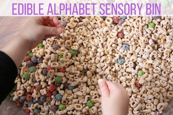 Simple literacy edible alphabet sensory bin for preschool this edible alphabet sensory bin is quick cheap and easy to set up but is a memorable sensory bin that your kids will love ccuart Image collections