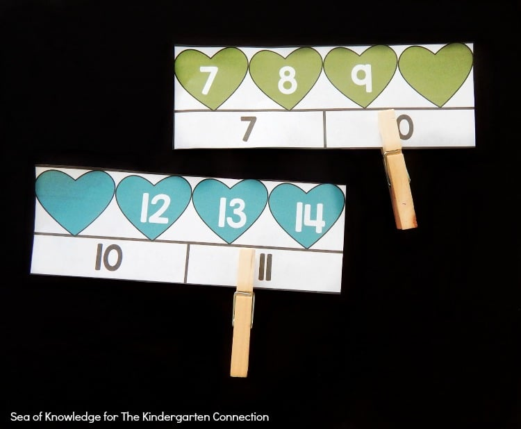 These heart number order clip cards are a great Valentine's Day math center for Kindergarteners to work on counting on and numbers before and after to 20!