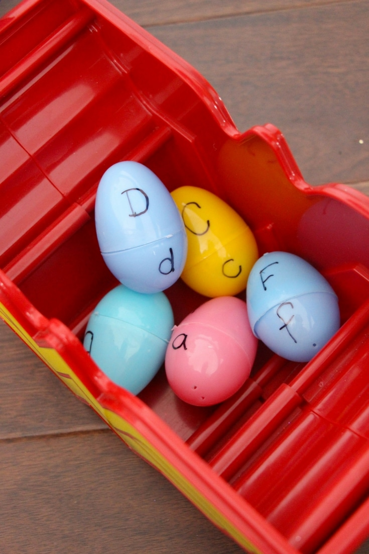 Easy literacy-building sensory bins like this Rainbow Egg Letter Matching Easter Sensory Bin are perfect for practicing upper and lowercase letters.