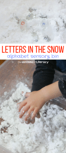 Letters in the Snow Sensory Bin