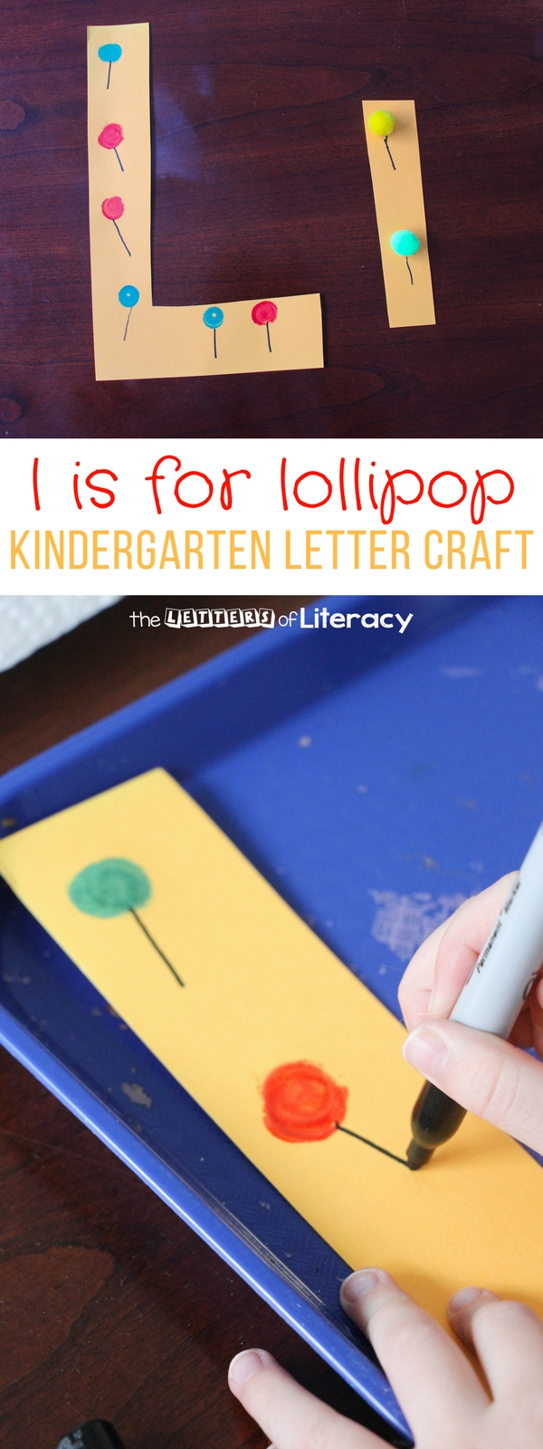 We had to follow up our J is for Jellybean with another fun candy-inspired addition to our letter series for the letter L craft. Here is L is for Lollipop!
