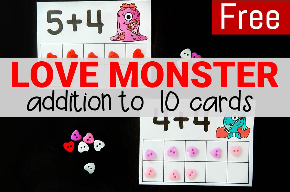 Love monster addition to 10 free printable cards