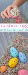 Rainbow Egg Letter Matching Sensory Bin